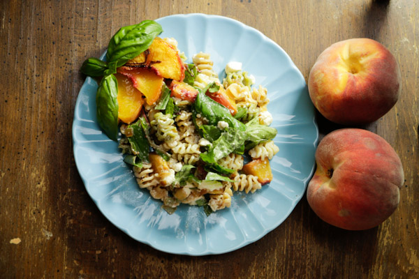 grilled peach pasta overhead shot